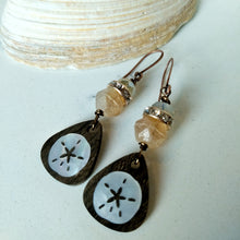Load image into Gallery viewer, Inlay Earrings - Sanddollar and Rhinestones - Minxes' Trinkets