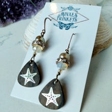 Load image into Gallery viewer, Inlay Earrings - Starfish and Rhinestones - Minxes' Trinkets