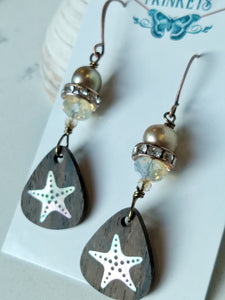 Inlay Earrings - Starfish and Rhinestones - Minxes' Trinkets