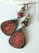 Load image into Gallery viewer, Inlay Earrings - Red Octopus - Minxes' Trinkets