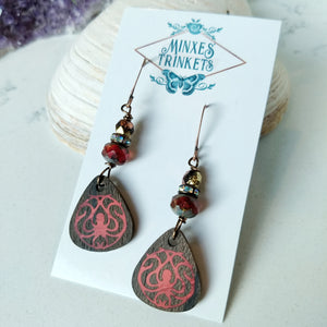 Inlay Earrings - Red Octopus - Minxes' Trinkets