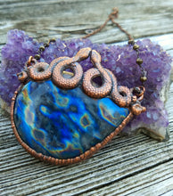 "Load image into Gallery viewer, ""Oracle"" - Labradorite and Snakes Electroformed Necklace - Minxes' Trinkets"