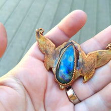 Load image into Gallery viewer, Art Deco Birds with Labradorite Electroformed Necklace - Minxes' Trinkets