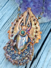 Load image into Gallery viewer, Egyptian Scarab and Druzy Moon Electroformed Necklace - Minxes' Trinkets