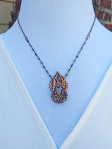 Egyptian Scarab and Druzy Moon Electroformed Necklace - Minxes' Trinkets
