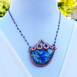 """Oracle"" - Labradorite and Snakes Electroformed Necklace - Minxes' Trinkets"