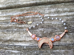 Druzy Moon Choker - with Sunstone and Moonstone - Minxes' Trinkets
