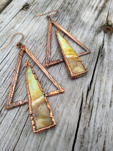 Peruvian Opal Wood Electroformed Earrings - Minxes' Trinkets