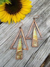 Load image into Gallery viewer, Peruvian Opal Wood Electroformed Earrings - Minxes' Trinkets