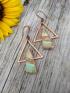 Peruvian Opal Wood Geometric Earrings - Minxes' Trinkets
