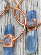 Load image into Gallery viewer, Electroformed Blue Kyanite Earrings with Moonstone - Minxes' Trinkets