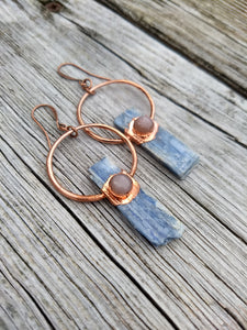 Copper Electroformed Blue Kyanite Earrings with Peach Moonstone - Minxes' Trinkets