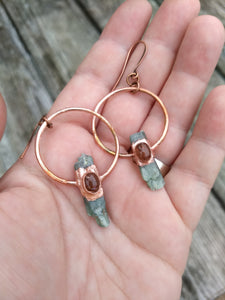 Copper Electroformed Green Kyanite Earrings with Sunstone - Minxes' Trinkets