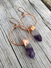 Load image into Gallery viewer, Copper Electroformed Amethyst Earrings - Minxes' Trinkets