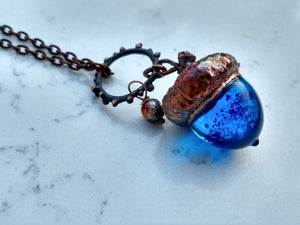Electroformed Lampworked Glass Acorn - Dappled Cerulean Blue - Minxes' Trinkets