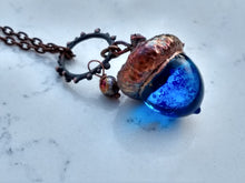 Load image into Gallery viewer, Electroformed Lampworked Glass Acorn - Dappled Cerulean Blue - Minxes' Trinkets