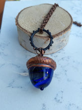 Load image into Gallery viewer, Electroformed Lampworked Glass Acorn - Cobalt Blue Swirl - Minxes' Trinkets