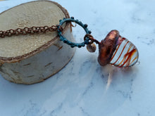 Load image into Gallery viewer, Electroformed Lampworked Glass Acorn - Rusty Orange Swirl - Minxes' Trinkets