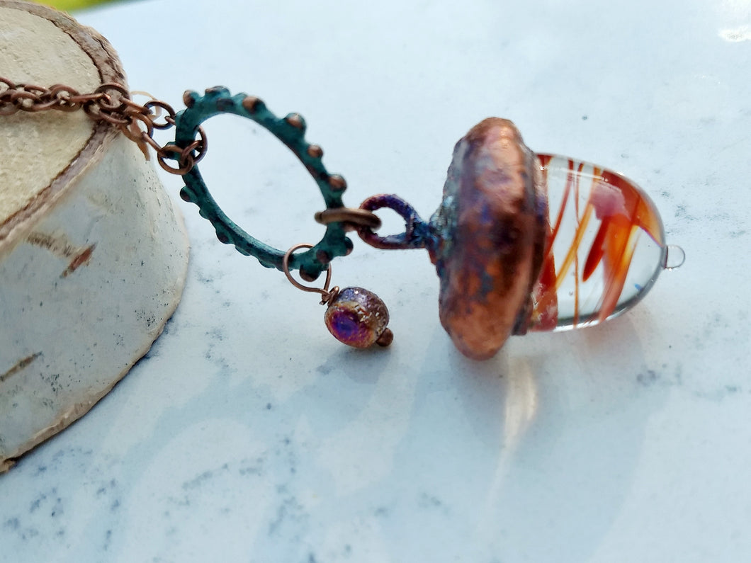 Electroformed Lampworked Glass Acorn - Rusty Orange Swirl - Minxes' Trinkets