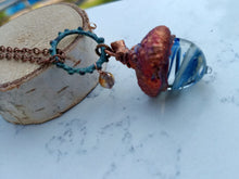 Load image into Gallery viewer, Electroformed Lampworked Glass Acorn - Sky Blue and White Swirl - Minxes' Trinkets