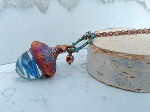 Electroformed Lampworked Glass Acorn - Sky Blue and White Swirl - Minxes' Trinkets