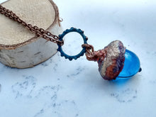 Load image into Gallery viewer, Electroformed Lampworked Glass Acorn - Caribbean Blue - Minxes' Trinkets