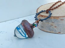Load image into Gallery viewer, Electroformed Lampworked Glass Acorn - Aqua Swirl - Minxes' Trinkets