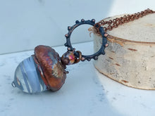 Load image into Gallery viewer, Electroformed Lampworked Glass Acorn - White Swirl - Minxes' Trinkets