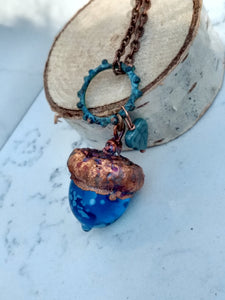 Electroformed Lampworked Glass Acorn - Dappled Caribbean Blue - Minxes' Trinkets