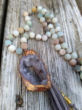 Load image into Gallery viewer, Electroformed Druzy Amazonite Mala Necklace - Minxes' Trinkets