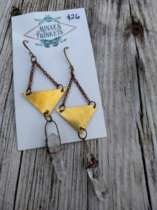 Triangle Quartz Point Earrings - Minxes' Trinkets
