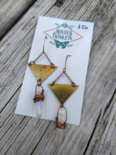Load image into Gallery viewer, Triangle Aura Quartz Earrings - Minxes' Trinkets
