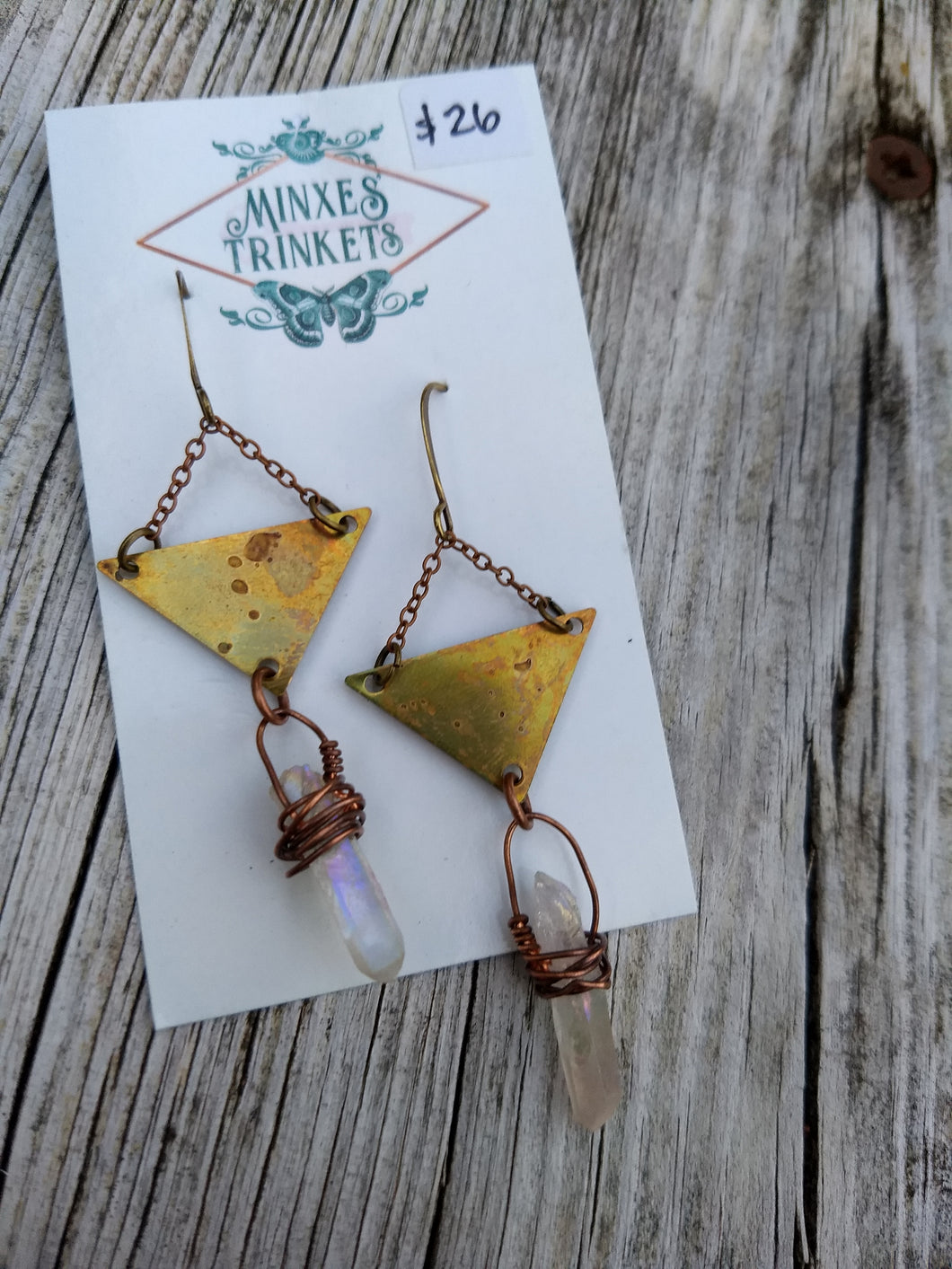 Triangle Aura Quartz Earrings - Minxes' Trinkets
