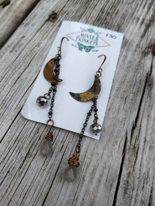 Patina Moon Earrings - labradorite briolettes - Minxes' Trinkets