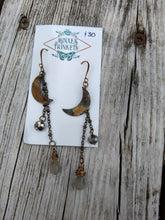 Load image into Gallery viewer, Patina Moon Earrings - labradorite briolettes - Minxes' Trinkets