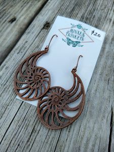 Copper Nautilus Earrings - Minxes' Trinkets