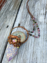 Load image into Gallery viewer, Mermaid Amulet - Ammonite and Aura-coated Spirit Quartz - Minxes' Trinkets