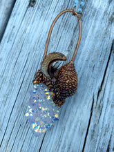 Load image into Gallery viewer, Mermaid Amulet - Electroformed Aura Quartz, Druzy Moon, and Ammonite - Minxes' Trinkets