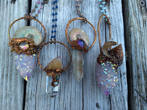 Mermaid Amulet - Ammonite and Aura-coated Spirit Quartz - Minxes' Trinkets