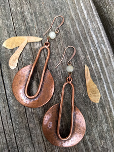 Copper statement earrings with Amazonite - Minxes' Trinkets