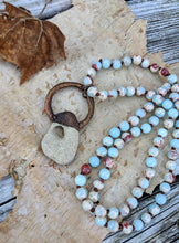 Load image into Gallery viewer, Electroformed Hagstone on Peruvian Opal Beaded Necklace - Minxes' Trinkets