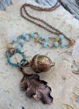 Load image into Gallery viewer, Electroformed Acorn Necklace with Jade