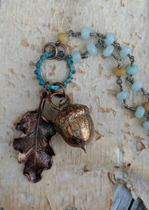 Electroformed Acorn Necklace with Jade - Minxes' Trinkets