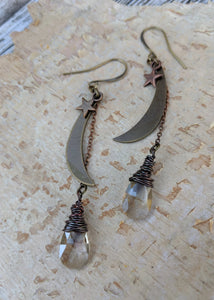 Moon and Star Earrings with Smokey Crystal Briolettes