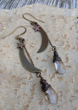 Load image into Gallery viewer, Moon and Star Earrings with Smokey Crystal Briolettes
