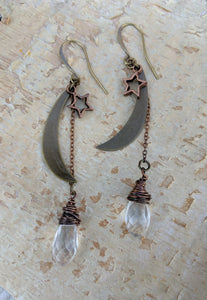 Moon and Star Earrings with Clear Crystal Briolettes - Minxes' Trinkets