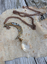 Load image into Gallery viewer, Simple Moon Long Necklace with Clear Briolette - Minxes' Trinkets