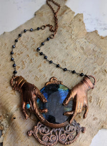 Fortune Teller Labradorite Crystal Ball Necklace - Minxes' Trinkets
