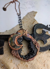 Load image into Gallery viewer, Electroformed Labradorite Moon and Black Druzy Necklace - Minxes' Trinkets