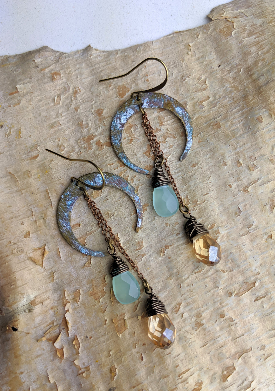 Crescent Moon Earrings with Chalcedony - Minxes' Trinkets